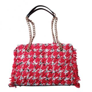 Carolina Herrera Red Tweed Shoulder Bag