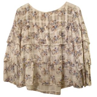 Club Monaco Tiered Floral Print Blouse