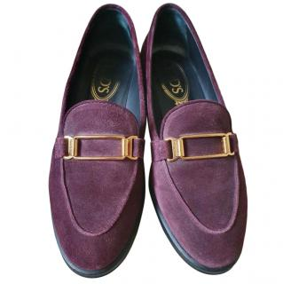 Tod's Purple Suede Loafers