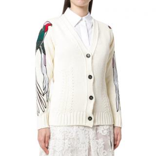 N�21 Bird Embroidered Cream Cardigan