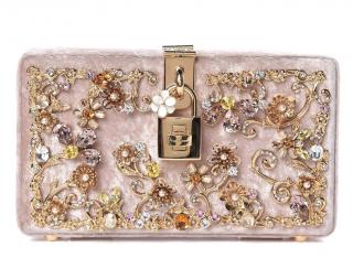 Dolce & Gabbana Pink Dolce Embellished Velvet Box Clutch