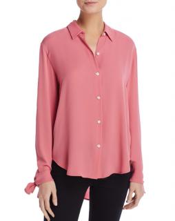 Theory Pink Silk Tie Cuff Shirt