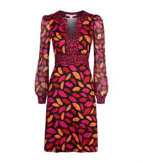 Diane Von Furstenberg Pink & Orange Leaf Print Dress