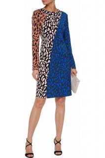 Diane Von Furstenberg colourblock leopard print dress