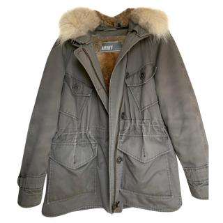 Yves Solomon Army Khaki Fur Lined Parka