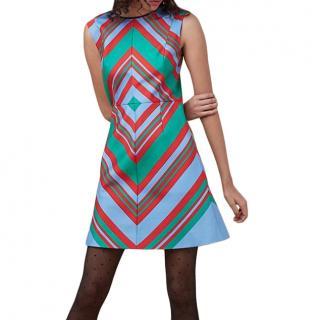 Diane Von Furstenberg Geometric Print Wool & Silk Mini Dress