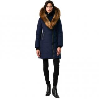 Mackage Kay Blue Down Coat w/ Signature Natural Fur Collar