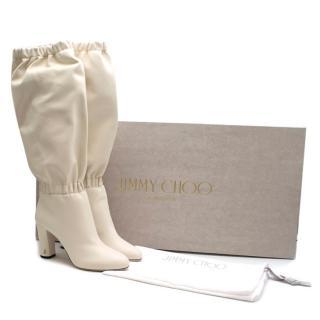Jimmy Choo White Latte Maxyn 85 Knee-High boots