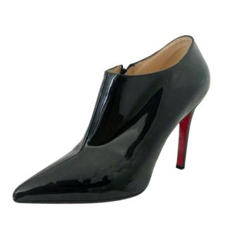 Christian Louboutin black patent ankle boots