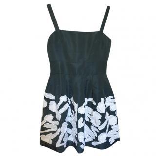 Oscar De La Renta Green Silk Faille Fern Embroidered Dress