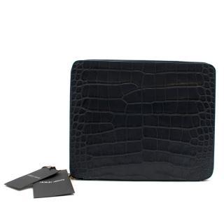 Giorgio Armani Navy Croc Embossed Leather Ipad Case/Document Holder