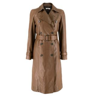 Prada Brown Double-Breasted Leather Trench Coat