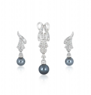Bespoke grey pearl and diamond pendant and earrings suite