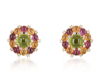 Bvlgari Round Rose Gold Diamond Gemstone Set Earrings