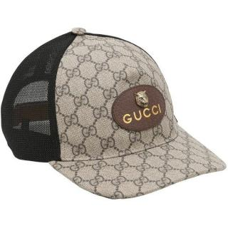 Gucci Monogram Supreme Feline Patch Baseball Cap