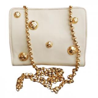 Salvatore Ferragamo White Studded Shoulder Bag