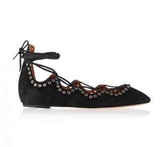 Isabel Marant Leo lace-up embellished suede ballet flats