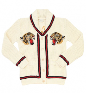 Gucci tiger tricot knit cotton cardigan