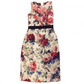 Dolce & Gabbana Floral Print Sleeveless Fitted Dress
