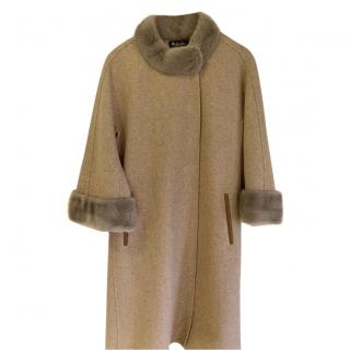 Loro Piana Alpaca & Cashmere Mink Trim Coat