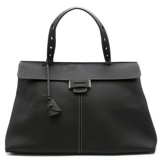 Myriam Schaefer Black Grained Leather Lord Tote Bag