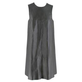 Harrods Grey Leather Sleeveless Shift Dress