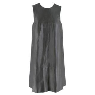 Harrods Grey Leather Sleeveless Shift Dress