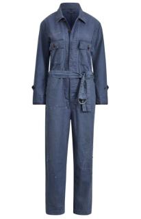 Polo Ralph Lauren Blue Linen Blend Jumpsuit