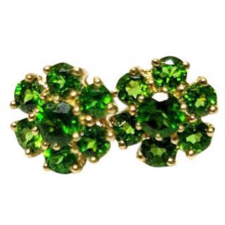 Bespoke demantoid Garnet cluster earrings