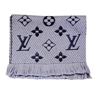 Louis Vuitton Wool & Silk Pearl Grey Logomania Scarf