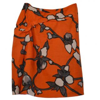 Marni Orange Printed Lightweight Skirt