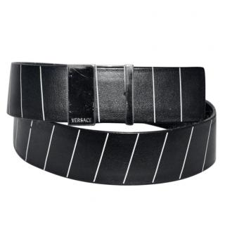 Gianni Versace black & white striped leather belt