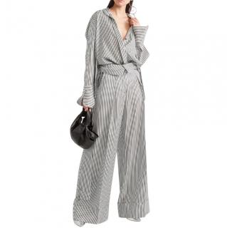 Petar Petrov Haven Black Striped Wide Leg Trousers