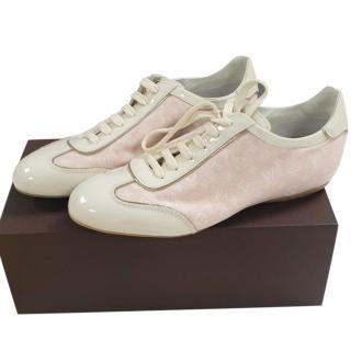 Louis Vuitton Pink Monogram Leather Trim Sneakers