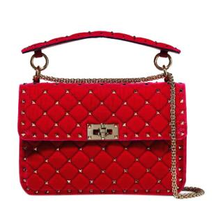 Valentino Garavani Medium Red Velvet Spike.It Chain Bag