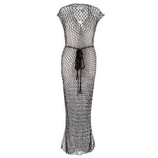 My Beachy Side Black Beaded Crochet Knit Beach Dress