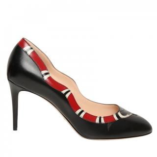 Gucci Black Kingsnake Leather Pumps
