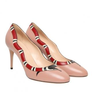 Gucci Nude Kingsnake Leather Pumps
