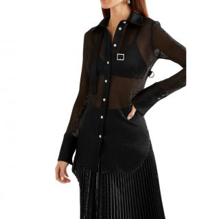 Peter Do Black Satin-trimmed Metallic Voile Shirt