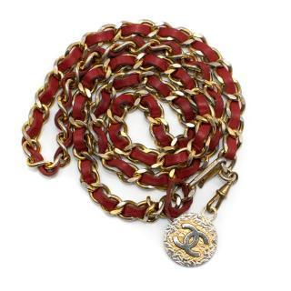 Chanel Vintage Medallion Red Leather Chain Belt