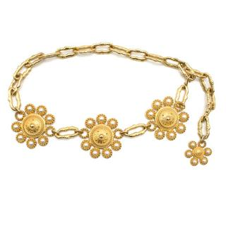 Chanel Gold Tone Faux Pear Medallion Belt