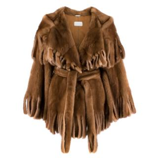 Dolce & Gabbana Brown Mink Fur Fringe Cape Wrap Coat