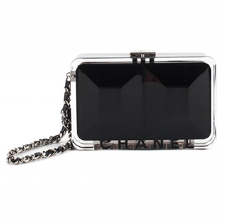Chanel Black Limited Edition Perspex Logo Chain Clutch