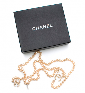 Chanel Champagne Faux Pearl CC Belt