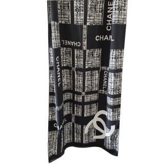 Chanel Black & White Cashmere & Wool Shawl