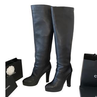 Chanel Black Leather OTK Boots