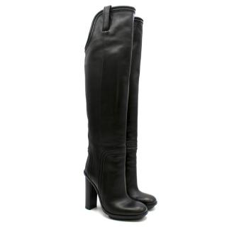Gucci Black Trish Leather Over The Knee Platform Boots
