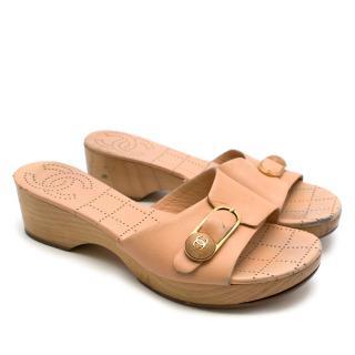 Chanel Peach Leather & Wooden CC Platform Mules