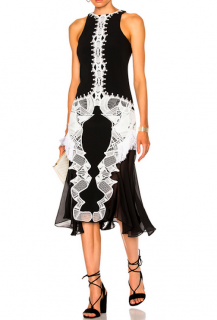 Jonathan Simkhai Crepe & Chiffon Lace Applique Dress