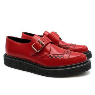 Saint Laurent Red Monk Buckle Creepers